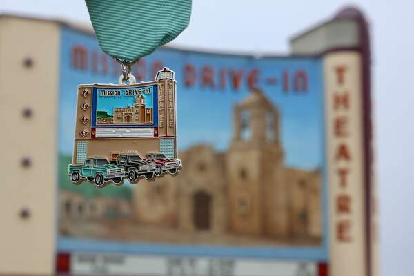 SA Flavor in partnership with San Antonio native Selina Bonilla, a UTSA graduate student, created a Mission Drive-In-themed Fiesta medal.