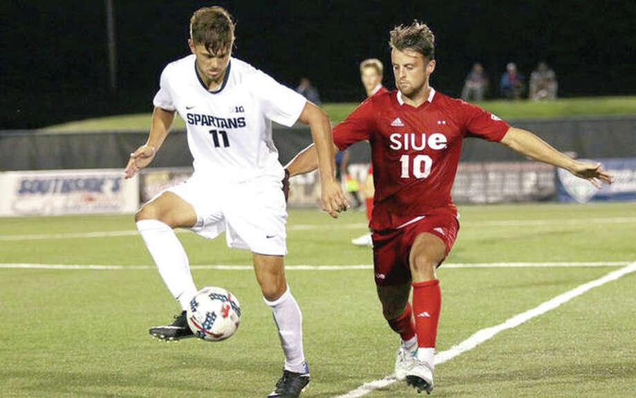 SIUE's Keeghan McHugh, right, and Ryan Sierakowski of Michigan State battle for the ball during action Friday night at Korte Stadium. Photo: SIUE Athletics