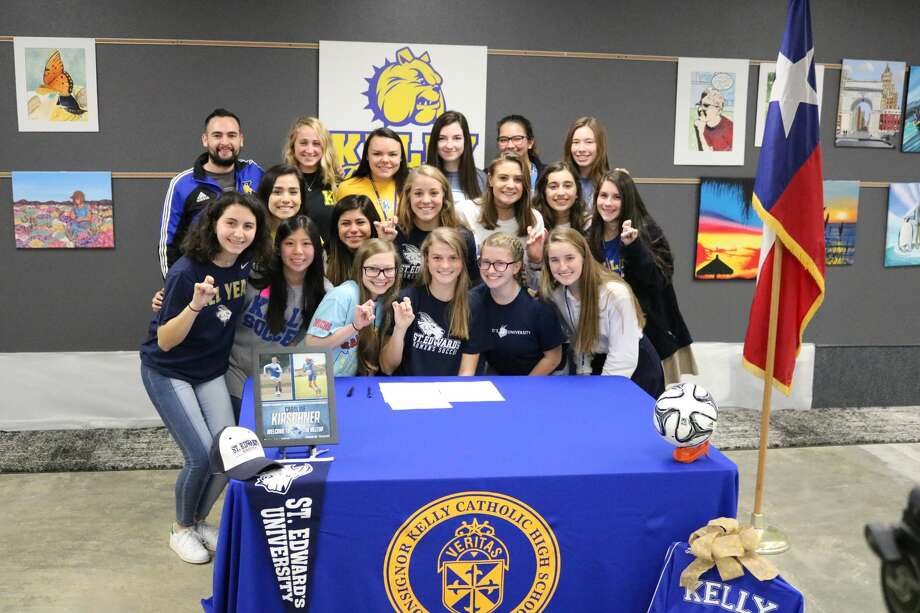 Kelly's Caroline Kirschner signed to play soccer at St. Edwards University on Friday. Photo: Kelly High School