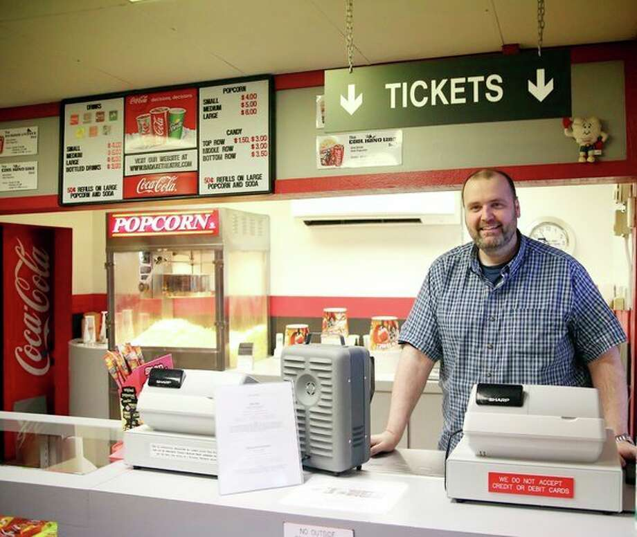 Mark Rolfe worked at the Bad Axe Theatre for nearly 30 years. He has owned the business since 2004. (Paul P. Adams/Huron Daily Tribune)