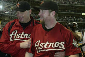 Jeff Bagwell and Roger Clemens walk back to the clubhouse after the Houston Astros-Chicago Cubs MLB game at Minute Maid Park, Sunday, October 2, 2005. Astros Clinched the wild card. (Karen Warren/Houston Chronicle)