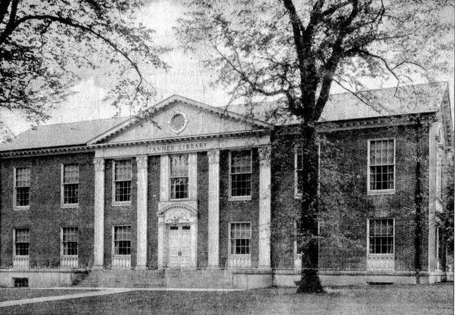 Illinois College's Tanner Library, now the IC administration building, was one of the early construction projects for the Jacksonville contracting firm of Smirl & Gibson. This photograph of the building, which was constructed in 1928-29, was taken around 1940.