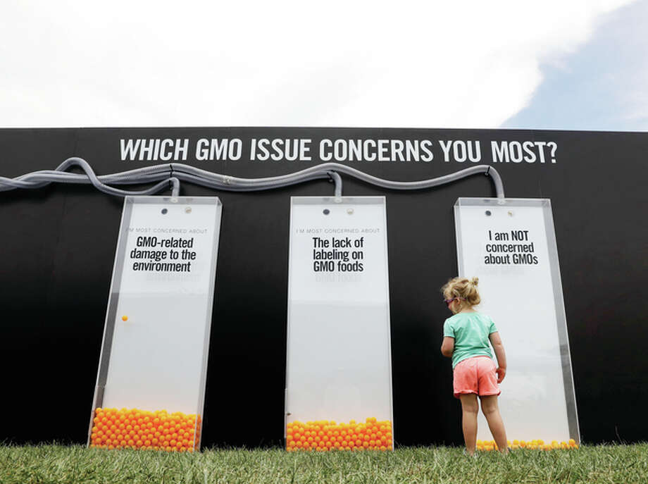 A child views a display that uses orange balls to register people's opinions on GMOs in July at the Cultivate Festival in Kansas City, Missouri. Chipotle's Cultivate festivals encapsulate the food industry's hottest marketing trend: crusading against Big Food. Photo: Charlie Riedel | Associated Press