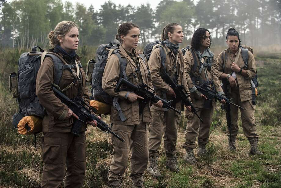 "A still from ""Annihilation"":  L-R: Jennifer Jason Leigh, Natalie Portman, Tuva Novotnyin, Tessa Thompson and Gina Rodriguez. Photo: Paramount Pictures, Peter Mountain"
