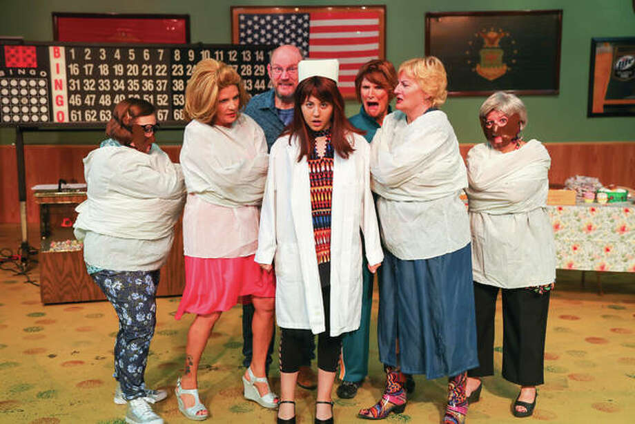 """Bingo: The Winning Musical"" will be on stage Friday, Sept. 8, through Sunday, Sept. 17, at Alton Little Theater Showplace with cast members Kathy Bredenkoetter, Mary Grace Brueggemann, Shawn Chevalier, Brant McCance, Gail Drillinger, Diana Kay and Kayla Robinson. Photo: Photo Credit Pete Basola