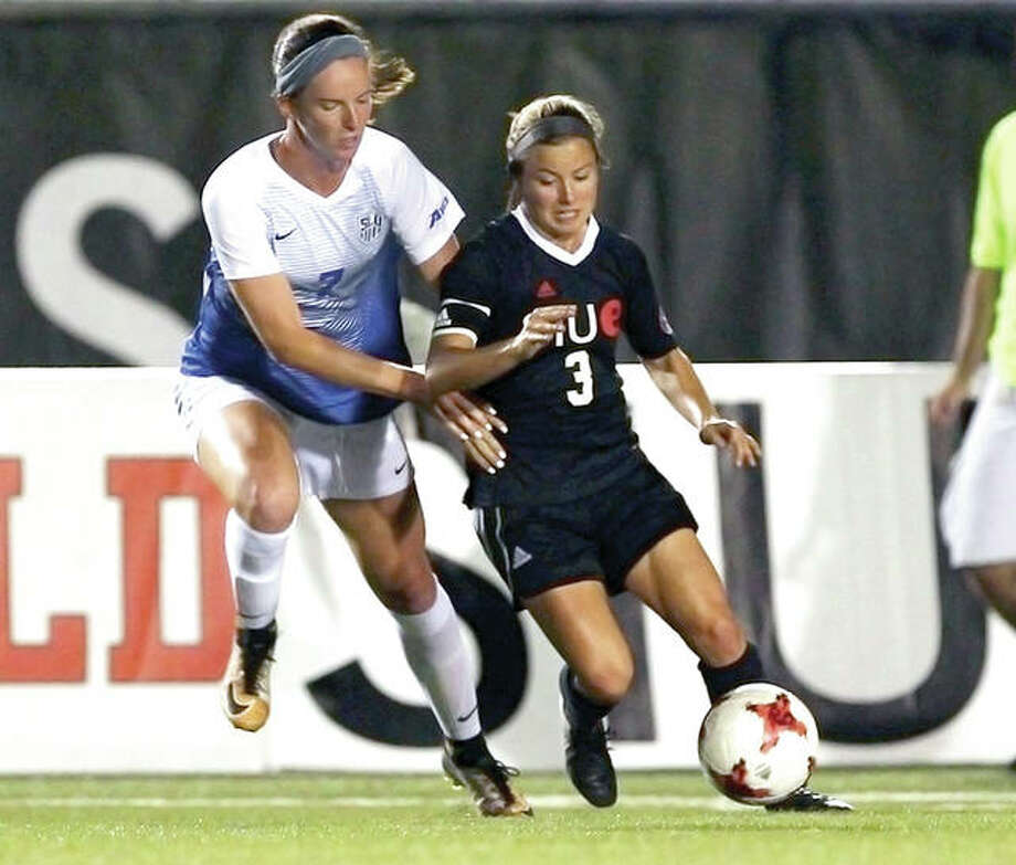 SIUE's Emily Grahl (3) is marked by Saint Louis University's Alyssa Seitzer during Thursday night's game at Korte Stadium. Photo: SIUE Athletics