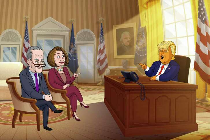"""Sen. Chuck Schumer, left, and Rep. Nancy Pelosi meet with President Donald Trump, voiced by Jeff Bergman, in """"Our Cartoon President."""""""