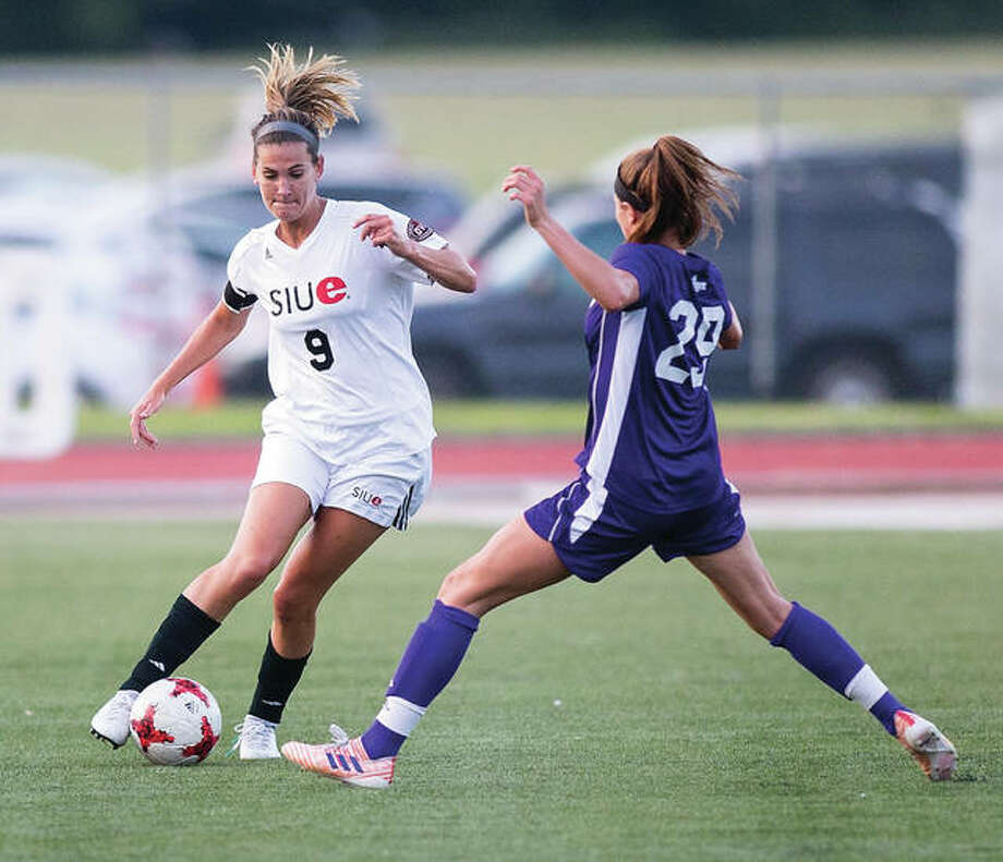 SIUE's Caroline Hoefert (right), tries to get past a Western Illinois defender during an Aug. 24 match at Korte Stadium in Edwardsville. The Cougars were in Chicago Sunday and lost a 1-0 match to Illinois-Chicago. Photo: SIUE Athletics