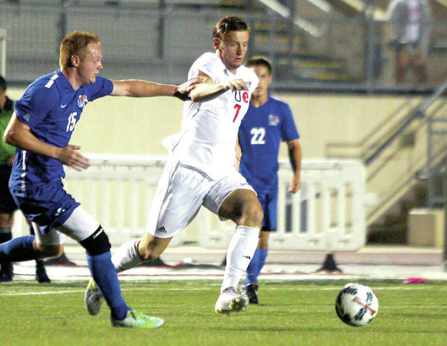 Lachlan McLean of SIUE moves theball against Memphis Monday night. He scored both goals in the Cougars' 2-0 victory at Korte Stadium. Photo: SIUE Athletics