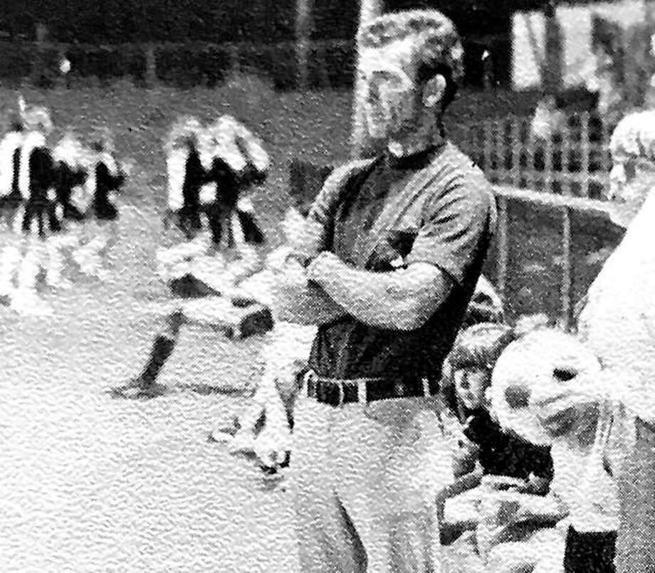 Bob Kehoe watches his Granite City North soccer team in action at the old Collinsville Football Bowl during Granite City North's first season in 1973. Photo: File Photo