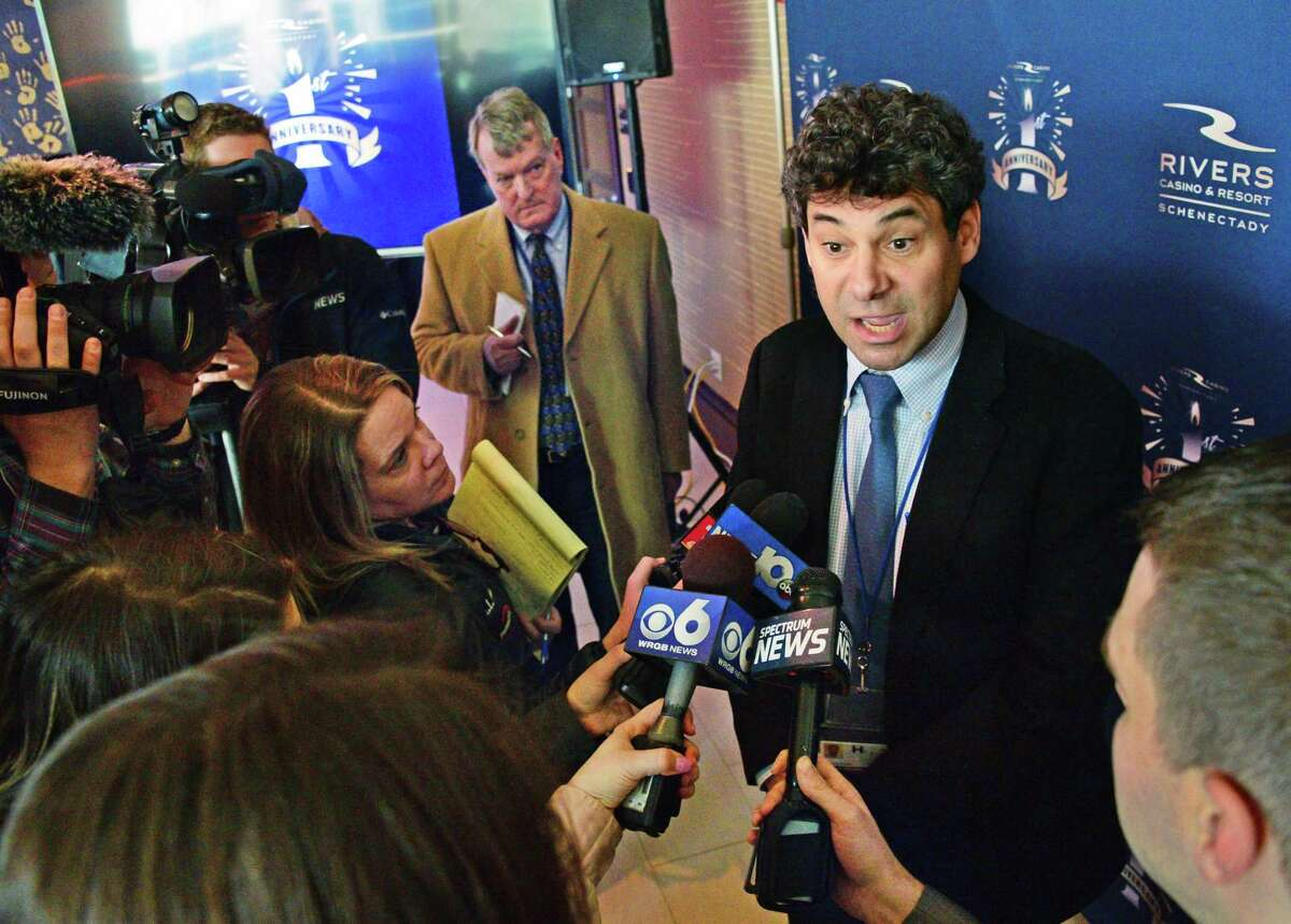 Rush Street Gaming CEO Greg Carlin speaks with reporters during Rivers Casino & Resort Schenectady first anniversary celebration Thursday Feb. 8, 2018 in Schenectady, NY. (John Carl D'Annibale/Times Union)