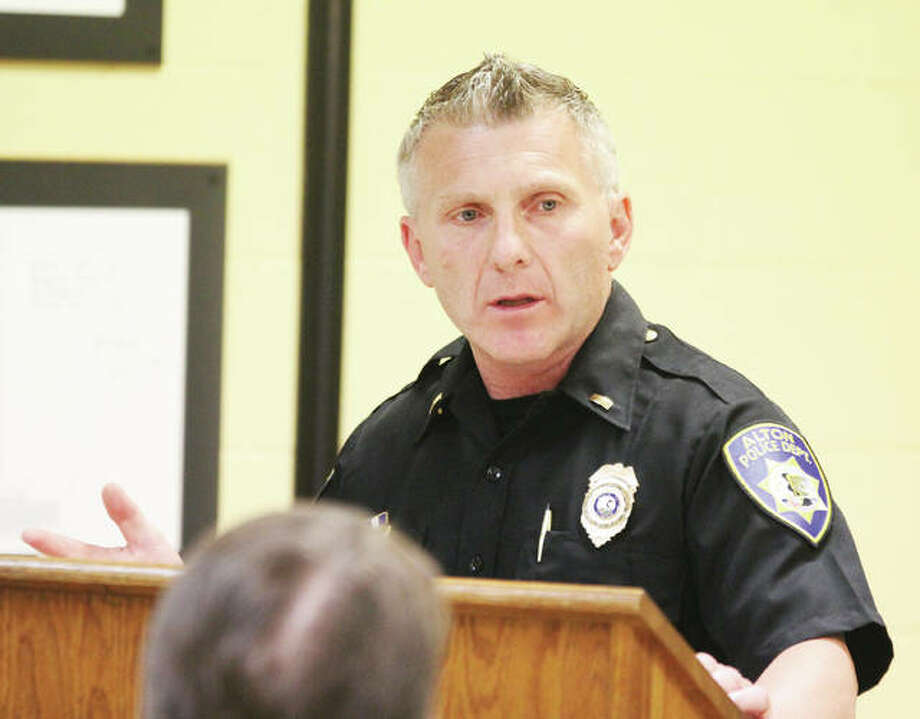 Lt. Gary Cranmer of the Alton Police Department talks to the Godfrey Village Board at Wednesdays meeting about collaborating on the development of a license plate reader camera system for the Clark Bridge. Photo: Scott Cousins | The Telegraph