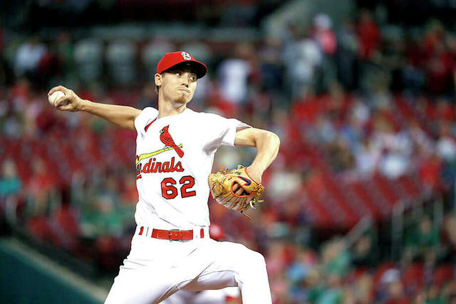 Cardinals pitcher Luke Weaver delivers in the first inning Friday night against the Pirates at Busch Stadium. Photo: AP