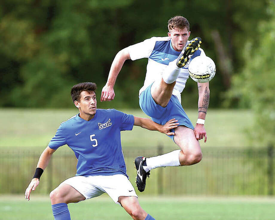 LCCC's Darcy Madden, right, and his LCCC tyeammates droppwed a 3-2 overtime decision to St. Louis Community College Monday at Florissant Valley Community College. Madden is shown in action against SWIC last week. Photo: Billy Hurst | For The Telegraph