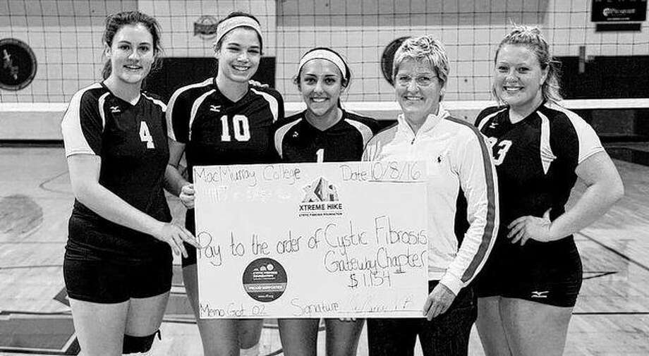 The MacMurray College volleyball team presented a check to the Cystic Fibrosis Foundation Gateway Chapter in St. Louis on Oct. 7. The team hosted a quad match between St. Louis Intercollegiate Athletic Conference opponents in September. During the games the team collected donations and provided baskets for a silent auction. The Highlanders began this annual tradition last season, raising $700 in 2015 and collecting $1,154 this year.
