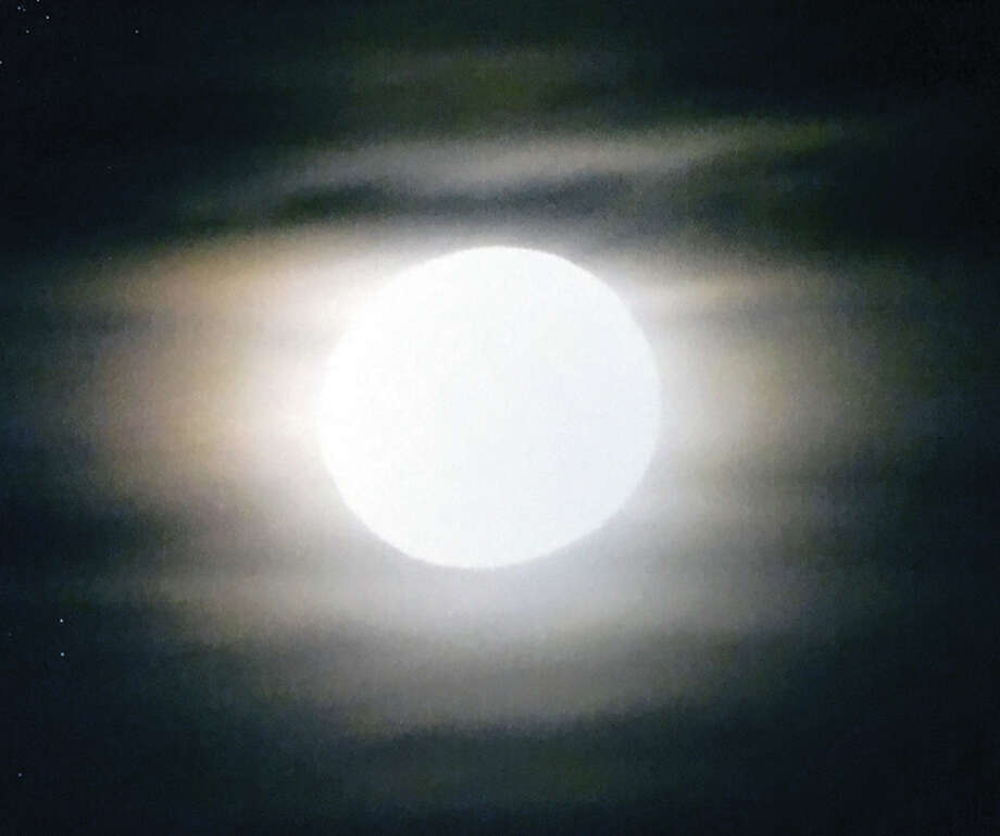 "The full ""hunter's moon"" lights up the skies of west-central Illinois this weekend. The full moon in October is nicknamed ""hunter's moon"" because it is the time of the year deer and other game animals are fattened enough for hunting."