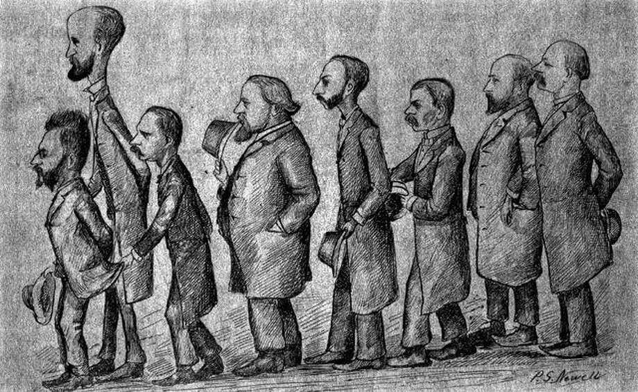Artist Peter Newell was commissioned to sketch these prominent Jacksonville residents. The men then had photographs made of the sketch and presented them to their friends on New Year's Day 1883. From left are professor George W. Brown of Jacksonville Business College; jeweler William L. Mason; attorney Julian P. Lippincott; Alfred H. Sturtevant, an Illinois College instructor and son of former IC president Julian M. Sturtevant; the Rev. Charles C. Pierce Jr., pastor of First Baptist Church; hardware merchant Brayton W. Smith; attorney John G. Morrison; and banker Frank Elliott.