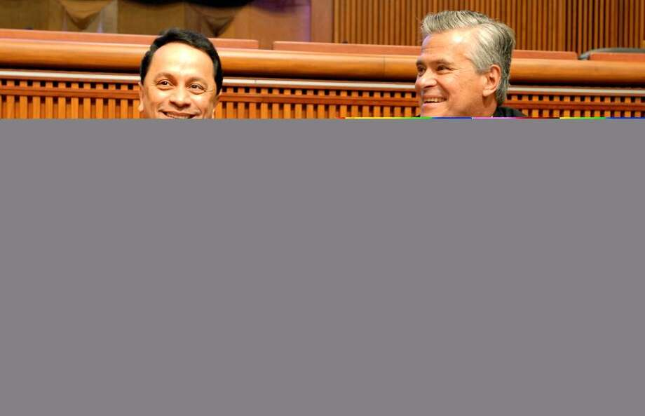 Democratic leaders worry about Sen. Pedro Espada Jr. and the impact that the Bronx senator might have on statewide party fortunes in 2010. Republican Sen. Dean Skelos, who joined Espada in a brief political alliance, is a right. Photo: CINDY SCHULTZ / 00004570A