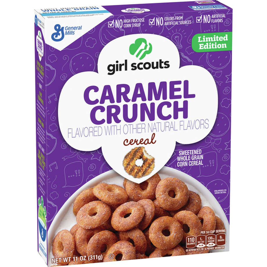 "General Mills confirmed Monday that it will introduce a limited-time Girl Scout Cookies cereal line, including ""Caramel Crunch"", in January. Photo: General Mills 