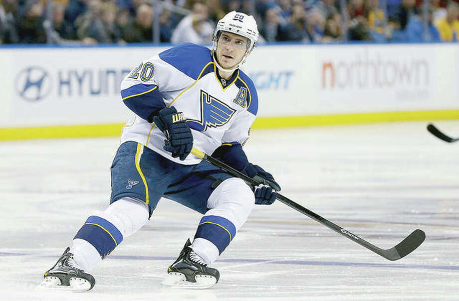 Blues forward Alexander Steen will miss the rest of training camp after suffering a left hand injury in the team's first preseason game. Photo: AP