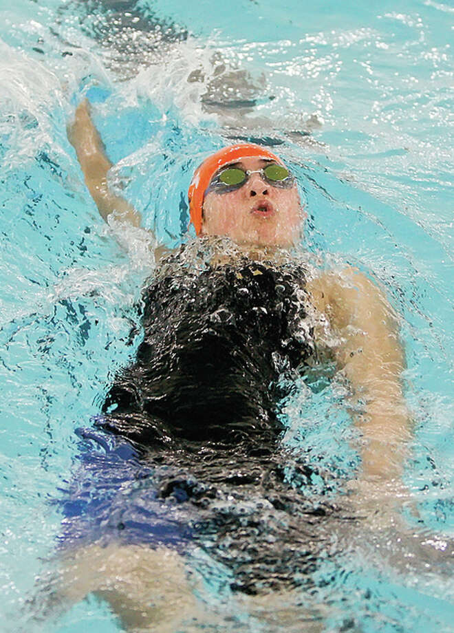 Edwardsville's Sahar Rabiei was part of Edwardsville's first-place 200-yard medley and 200 freestyle relay teams and was third in the 50 freestyle in Saturday's triangular meet win over Sacred Heart Griffin and Springfield high School at the Chuck Fruit Aquatic Center. Photo: Telegraph File Photo