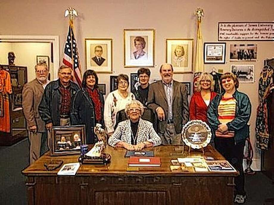 Members of Jacksonville Sunrise Rotary recently held their club meeting in Illinois College's Whipple Hall, where they toured the Paul Findley Congressional Office Museum, led by archivist and curator Samantha Sauer. Standing are Gordon Jumper (from left), Don Pigg, Linda Meece, Pat Pennell, Barb Baker, Jay Jamison, Debbie Hughes and Sarah Edmiston, and (seated) club President Sonie Smith. Photo: Submitted Photo