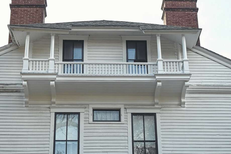 The third-floor porch on the east side of the Governor Duncan Mansion has been completely rehabilitated. Photo: Samantha McDaniel-Ogletree | Journal-Courier