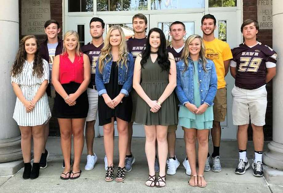East Alton-Wood River students pose as this year's homecoming court, where one queen will be crowned with her escort Saturday, Sept. 30 during the Coronation of the 90th Harvest Queen. Pictured is (front row) Courtney Bazzell, Chenoa Akins, Jennifer Hallstead, Teresa Hand, Morgan Moxey, (back row) Nicholas Hayes, Zachary Womack, Zachary Wells, Justin Englar, Jacob Martin, & Zaide Wilson.