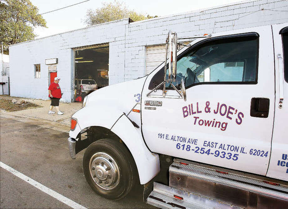 John Badman|The Telegraph A flatbed tow truck sits in front of Bill & Joe's Towing in the 100 block of East Alton Avenue in East Alton. FLUSH FROM STORY PLEASE.