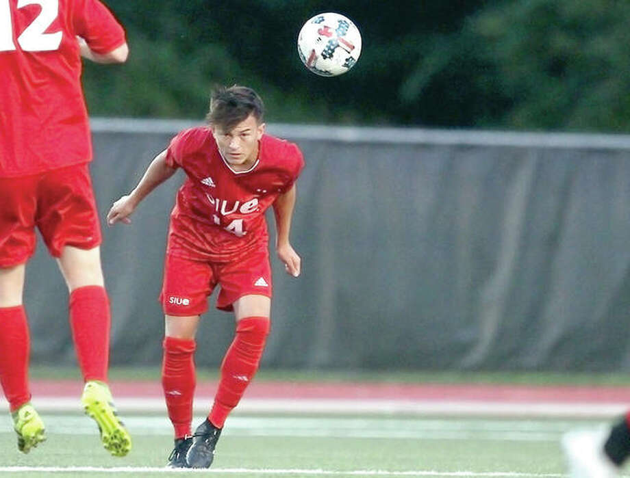 Eric Tejada and his SIUE teammates dropped a 2-1 double-overtime decision to Oral Roberts University Saturday night at Korte Stadium. A shot by Tejada hit off the crossbar in the second half. He is shown in action earlier against Michigan State University. Photo: SIUE Athletics