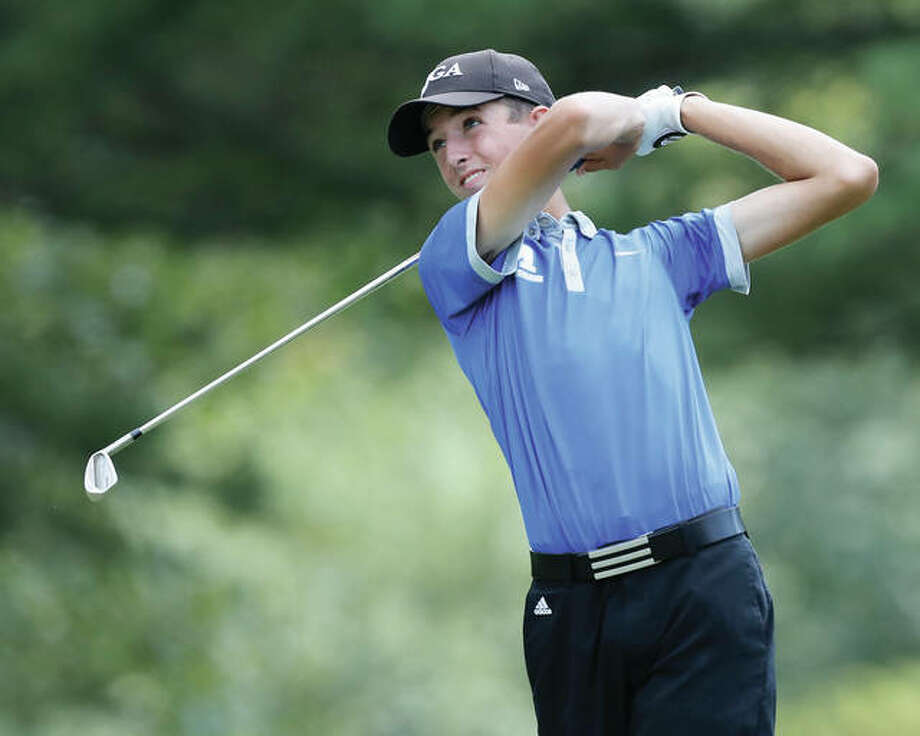 Marquette Catholic's Kolten Bauer shot 74 Tuesday to lead the Explorers to a runner-up finish behind Quincy Notre Dame at Belk Park golf course in Wood River. He is shown in action earlier this season. Photo: Billy Hurst | For The Telegraph