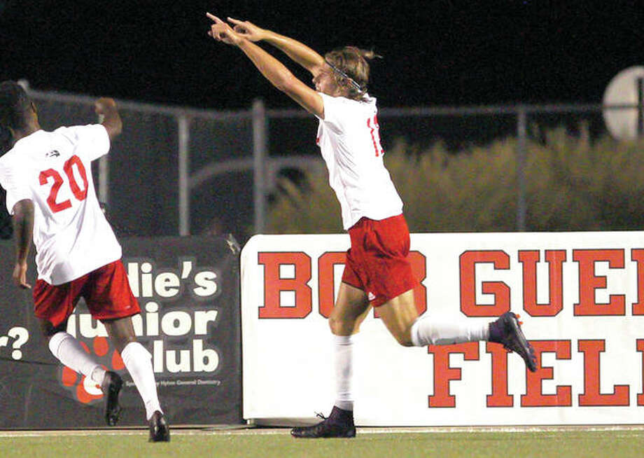 SIUE's Jorge Gonzalez, right, and teammate Mohamed Awad celebrate one of Gonzalez's two goals Wednesday night in the Cougars' 2-0 victory over Milwaukee at Korte Stadium. Photo: SIUE Athletics