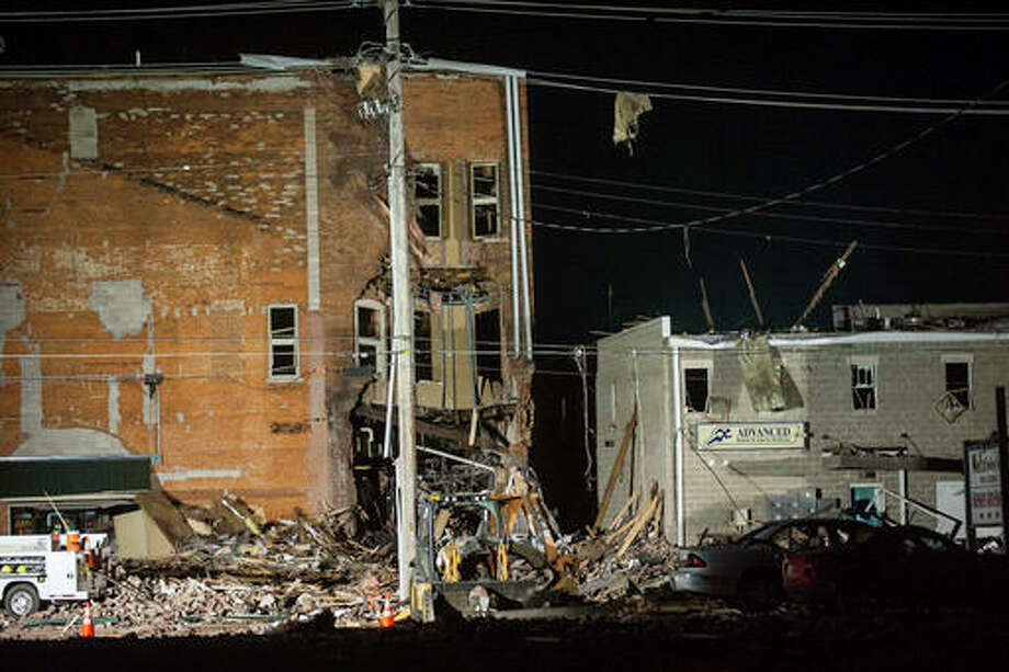 Lewis Marien | The Journal-Star (AP) Authorities say one person was killed and several injured in a natural gas explosion in the central Illinois community of Canton. The explosion occurred just before 6 p.m. Wednesday in a building along First Avenue. Officials say the explosion occurred near the downtown square and damaged several buildings.