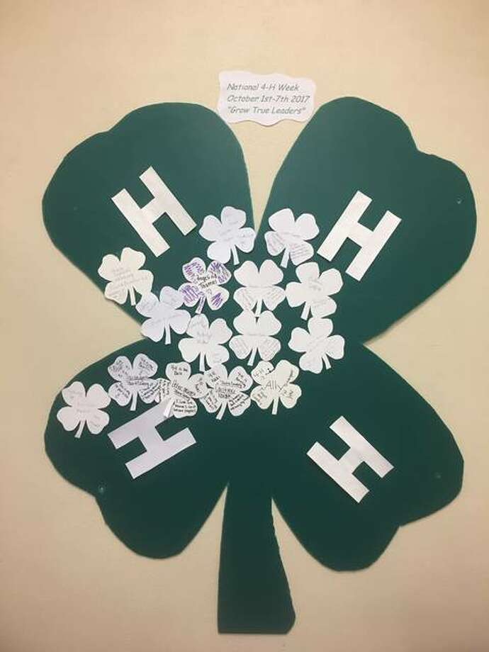 Town and Country 4-H Club's activities this week include a glass case display at the Bethalto Public Library, 321 S. Prairie St., where four-leaf clovers feature four statements of what members — past or present — value through 4-H; and displays of a big 4-H green clover on social media pages.