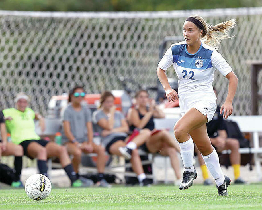LCCC's Audrey Andrzejewski has scored 22 goals and added 12 assists for the No. 7-ranked and unbeaten Trailblazers. Andrzejewski and her teammates are one victory away from clinching home-field advantage through the Region 24 Tournament. Photo: Billy Hurst | For The Telegraph