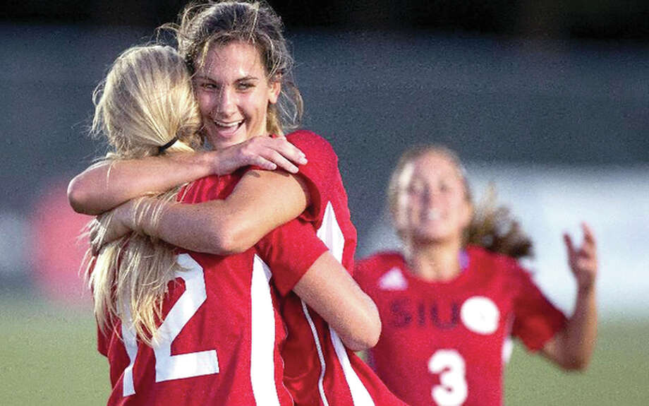 SIUE's Caroline Hoefert, right, and Lindsay Fencel celebrate a goal last season. Hoefret, a senior from Marquette Catholic High, and Fencel, a senior from Civic Memorial, will be among the players honored Friday during Senior Night ceremonies at Korte Stadium, when SIUE plays host to Tennessee Tech