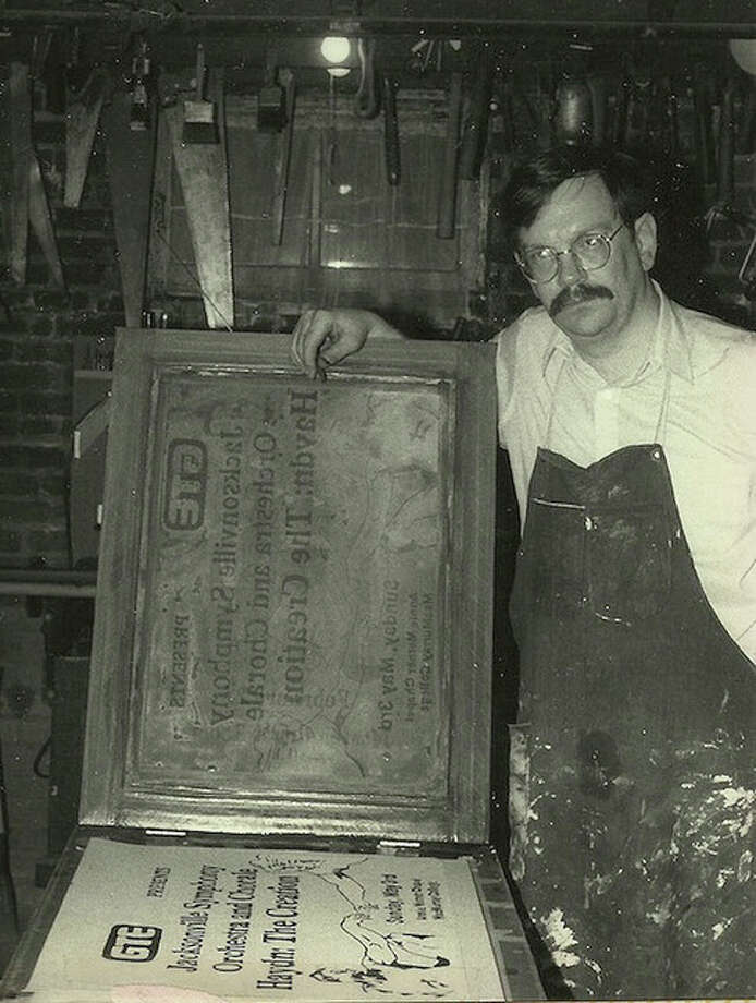 Printing posters in 1987.