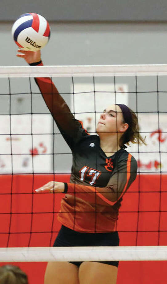 Edwardsville's Rachel Pranger attacks during the Tigers' SWC two-set win over the Redbirds on Thursday at Alton High in Godfrey. Photo: Billy Hurst / For The Telegraph