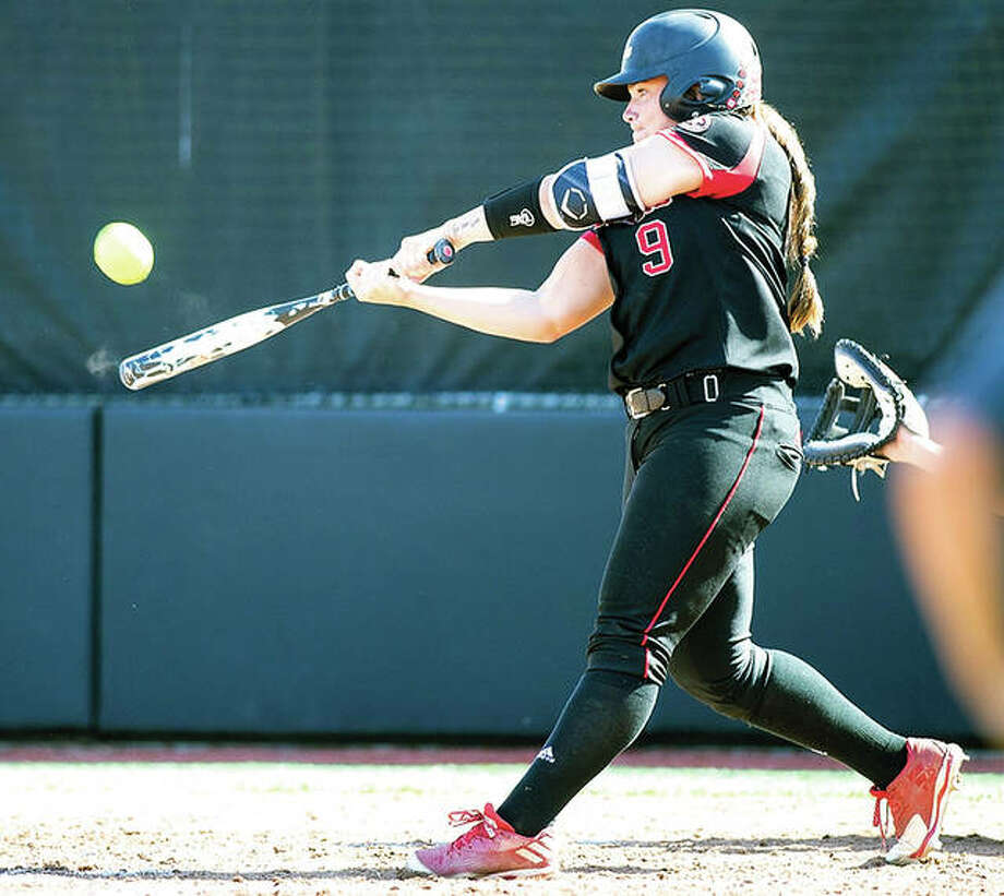SIUE's Tess Eby hit her second home run of the fall season in Saturday's doubleheader sweep of Lake Land.