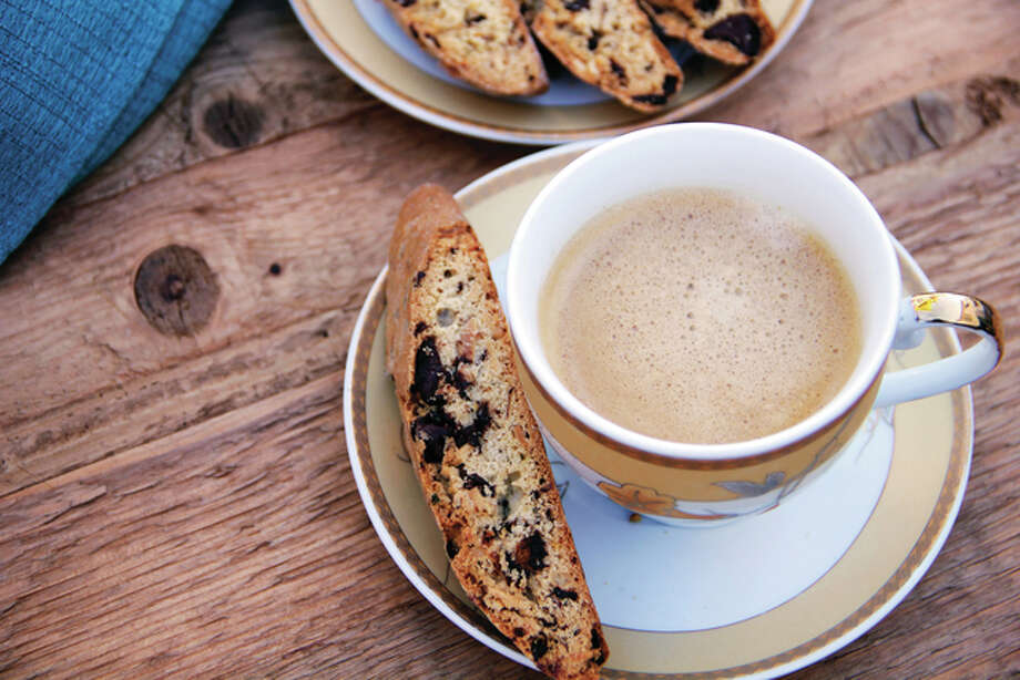 Dark chocolate and rosemary biscotti is a firm, dry Italian cookie flavored with the classic winter flavors of dark chocolate and rosemary. Photo: Melissa D'Arabian | Associated Press