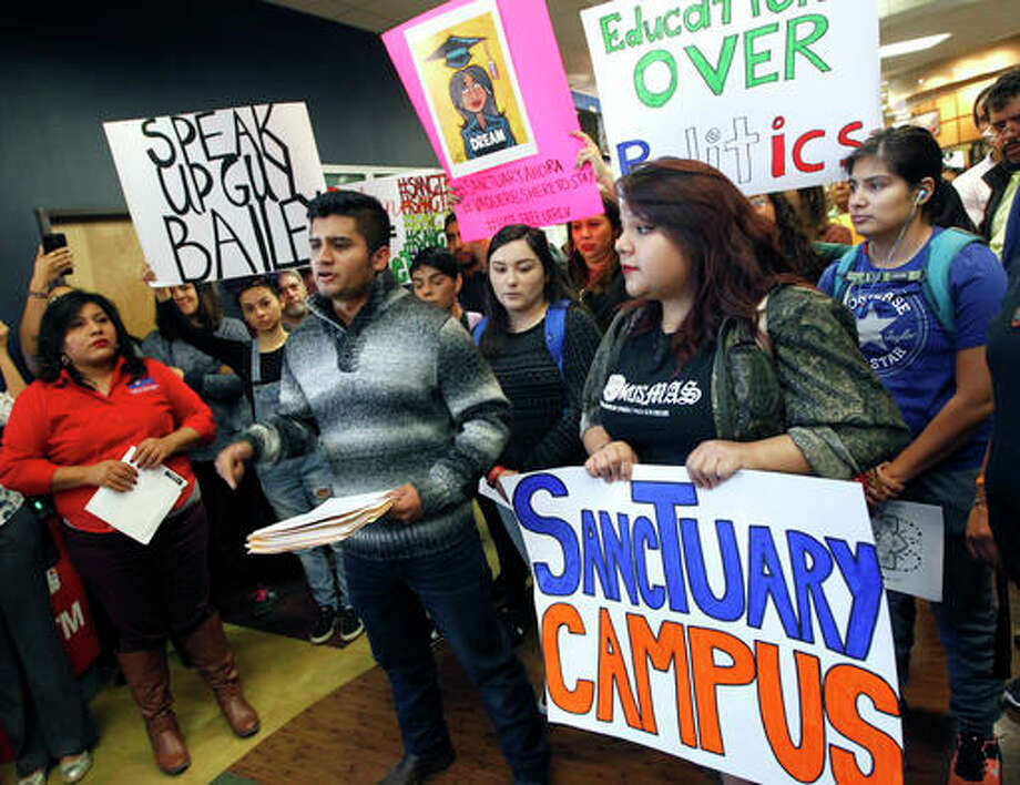 Nathan Lambrecht   The Monitor (AP) University of Texas Rio Grande Valley student Abraham Diaz Alonso talks about his fear of being deported during a news conference asking University President Guy Bailey to make UTRGV into a sanctuary campus.