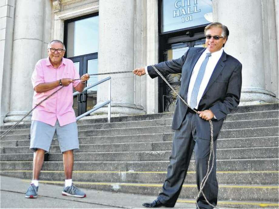 Godfrey Mayor Mike McCormick, left, and Alton Mayor Brant Walker will be pulling against one another in a trivia contest next month. Photo: For The Telegraph