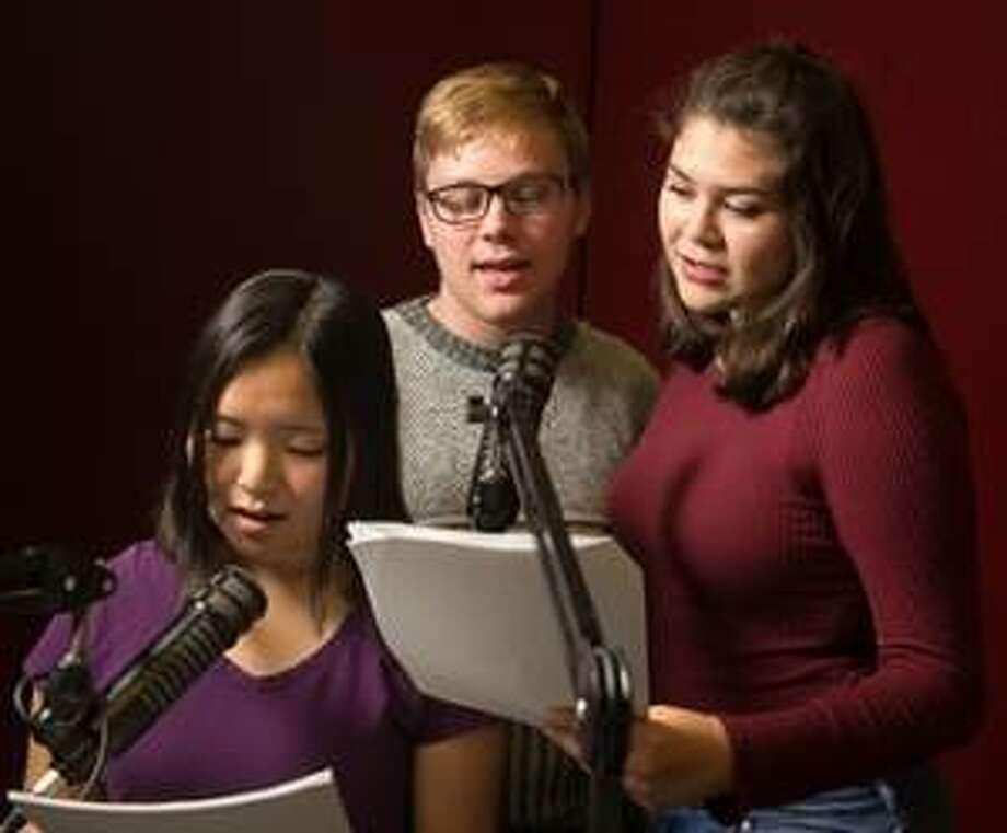 "Rehearsing lines from ""Academia Underground"" are (L-R): freshmen Jenna Heng, Thomas Harrison and Elizabeth Hernandez."