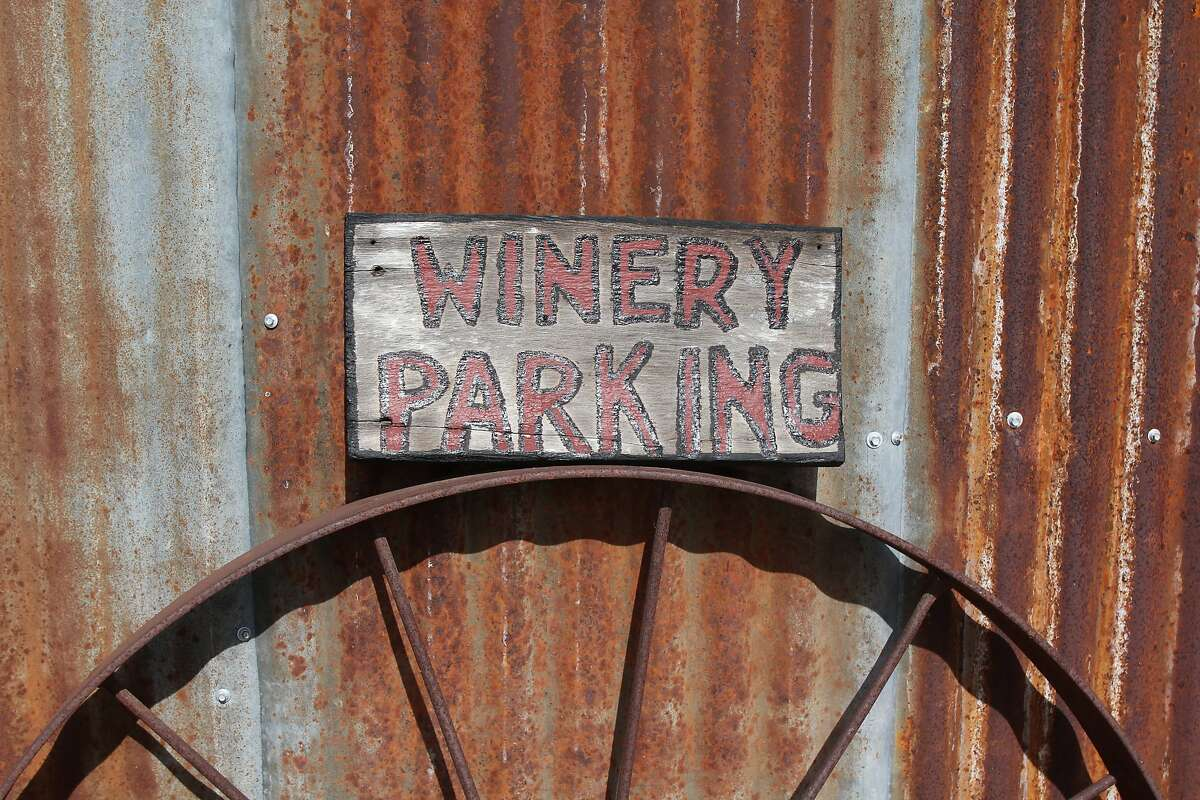 A hand-painted sign at Steinback Vineyards and Winery, which has been operated by the same family for six generations.