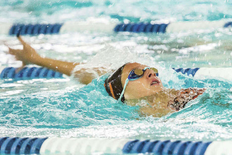 Edwardsville's Savannah Grinter, won the 200-yard individual medley in Thursday's 136-46 victory over O'Fallon at the Chuck Fruit Aquatic Center. Photo: Nathan Woodside   For The Telegraph