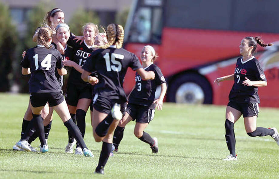 SIUE players celebrate a a goal Friday in their 2-1 Ohio Valley Conference Tournament victory over UT Martin in the Ohio Valley Conference Tournament in Richmond, Ky. Photo: Ohio Valley Conference