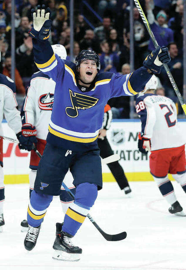 The Blues' Scottie Upshall celebrates after scoring during the third period of the Blues victory over the Columbus Blue Jackets on Saturday night in St. Louis. Photo: Associated Press