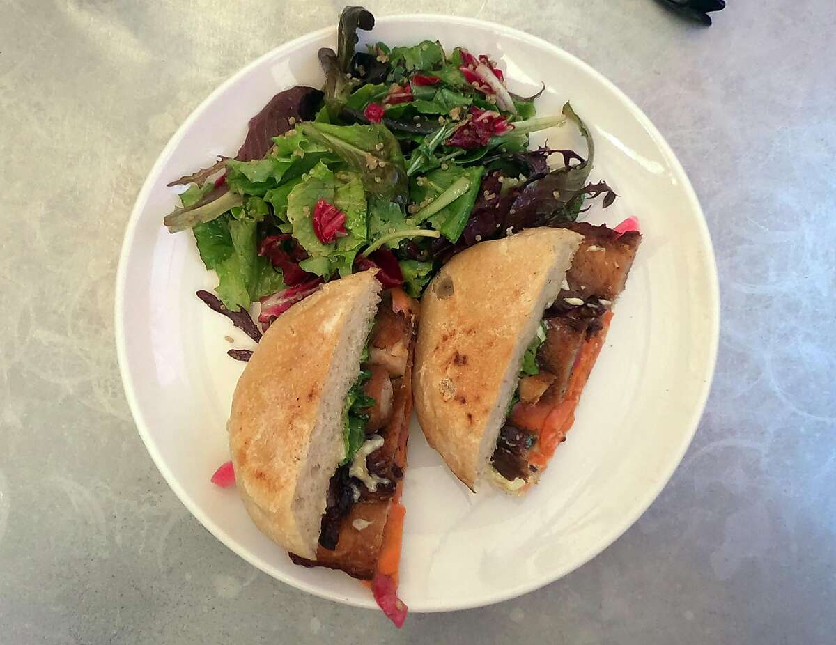 The braised pork belly sandwich at Thomas Hill Organics in downtown Paso Robles.