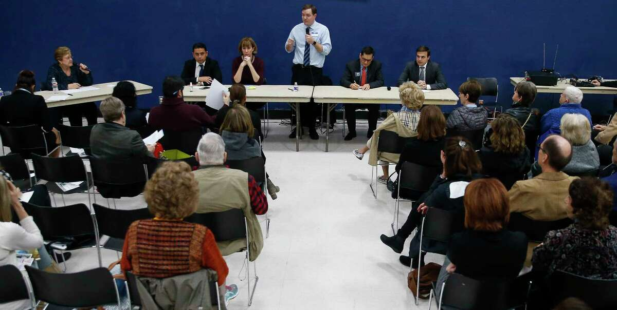 Congressional candidate Jason Westin answers a question as democrats vying to take on congressman John Culberson speak to voters at a Bayou Blue Democrats candidate forum at St. Stephens Episcopal Church Wednesday, Feb. 7, 2018 in Houston.