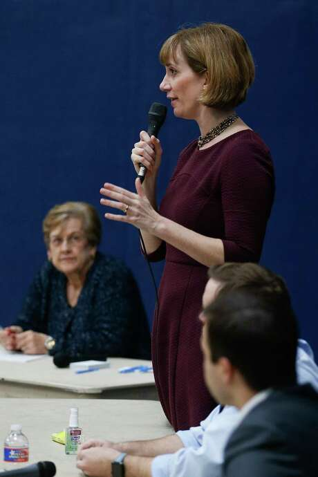 Congressional candidate Laura Moser answers a question as democrats vying to take on congressman John Culberson speak to voters at a Bayou Blue Democrats candidate forum at St. Stephens Episcopal Church Wednesday, Feb. 7, 2018 in Houston. Photo: Michael Ciaglo, Houston Chronicle / Michael Ciaglo